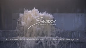 1324 Epic Mississippi river water gushing from Morganza spillway before opening