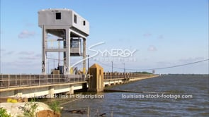 1332 Morganza spillway structure with high mississippi epic flood water ready to overtake