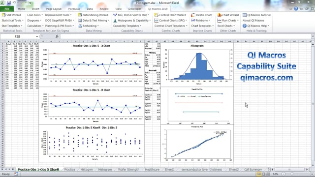 Capability Suite of Six Charts in Excel