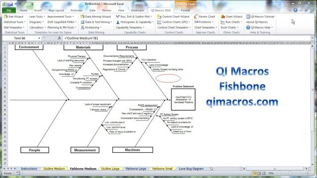 QI Macros Ishikawa (Fishbone) Template