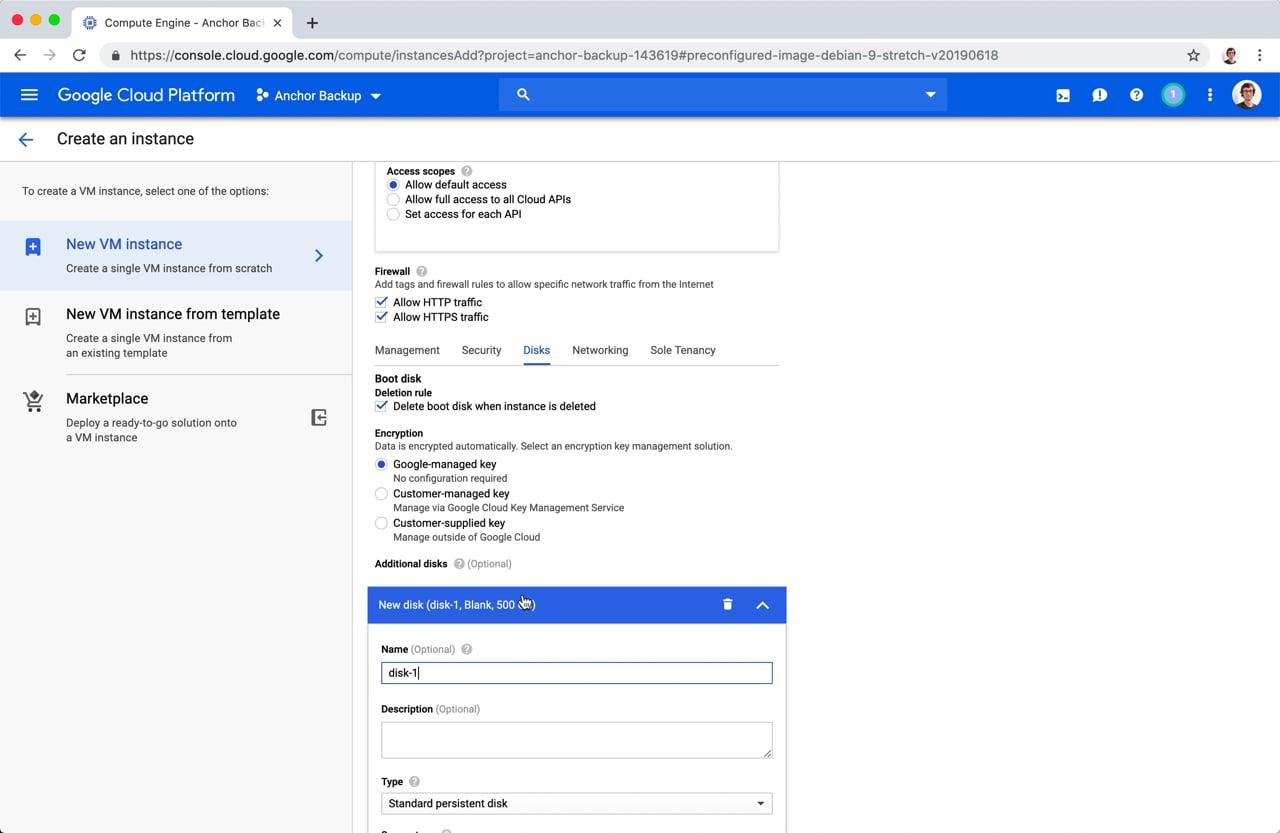 Google Cloud New VM Instance