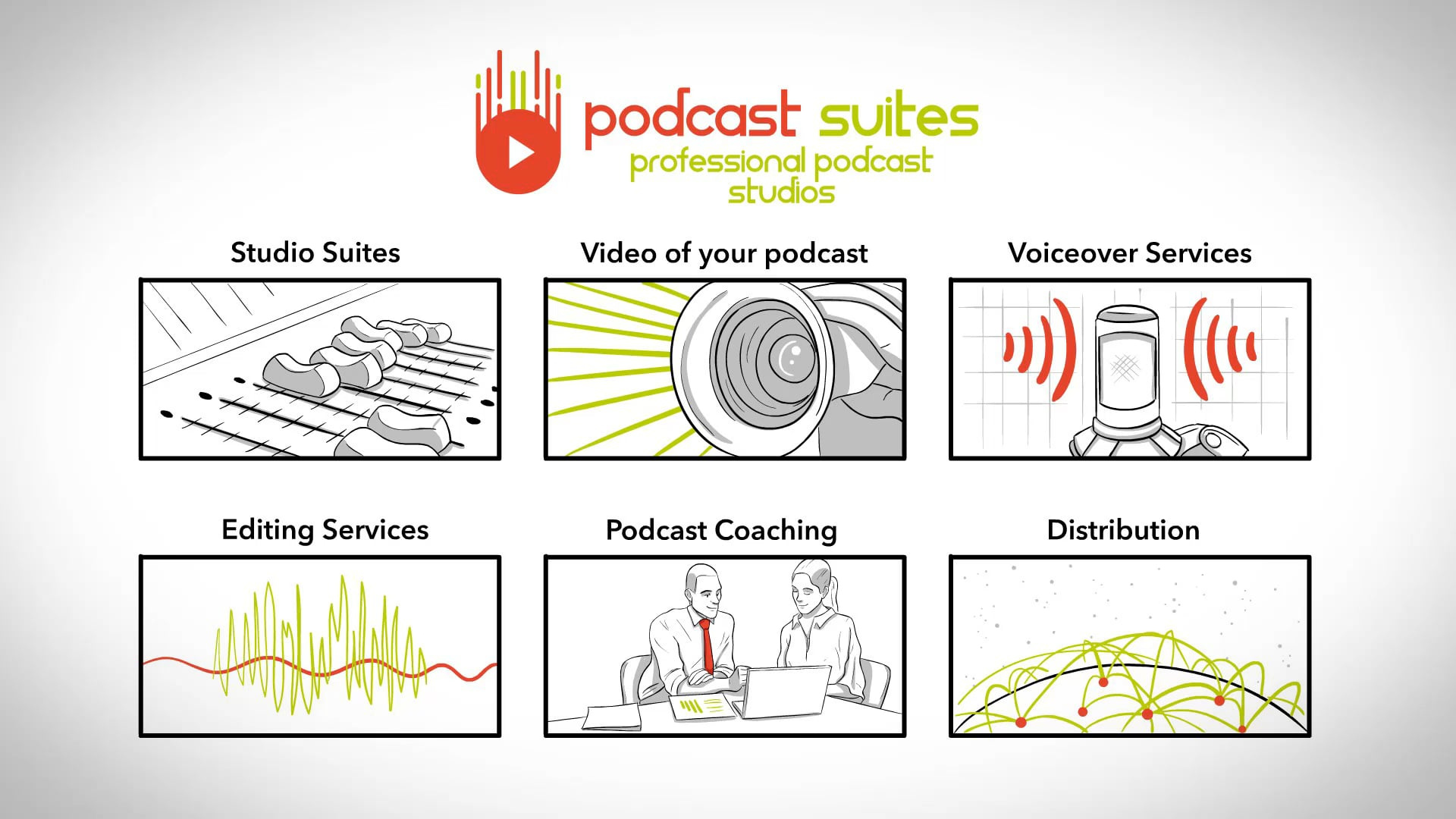 Whiteboard video for Podcast Suites