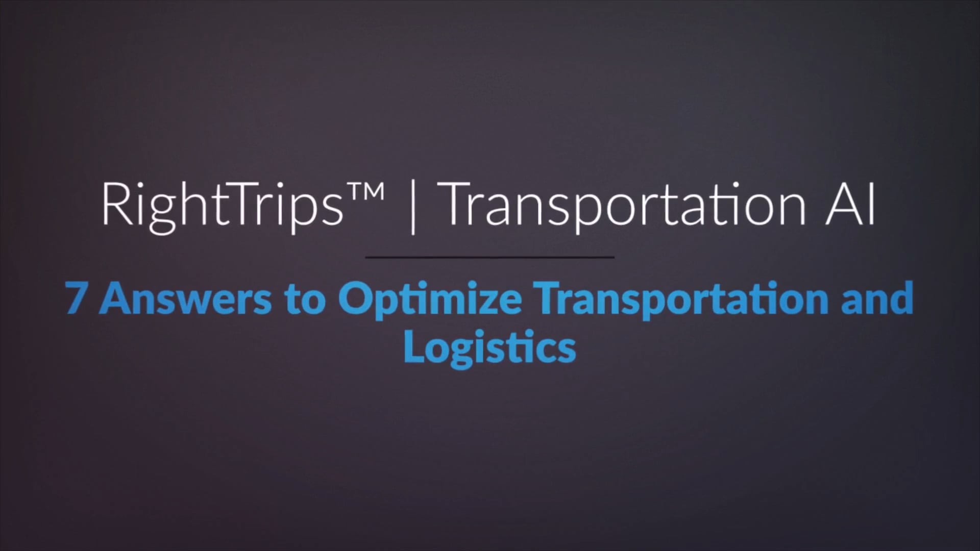 RightTrips | Transportation AI