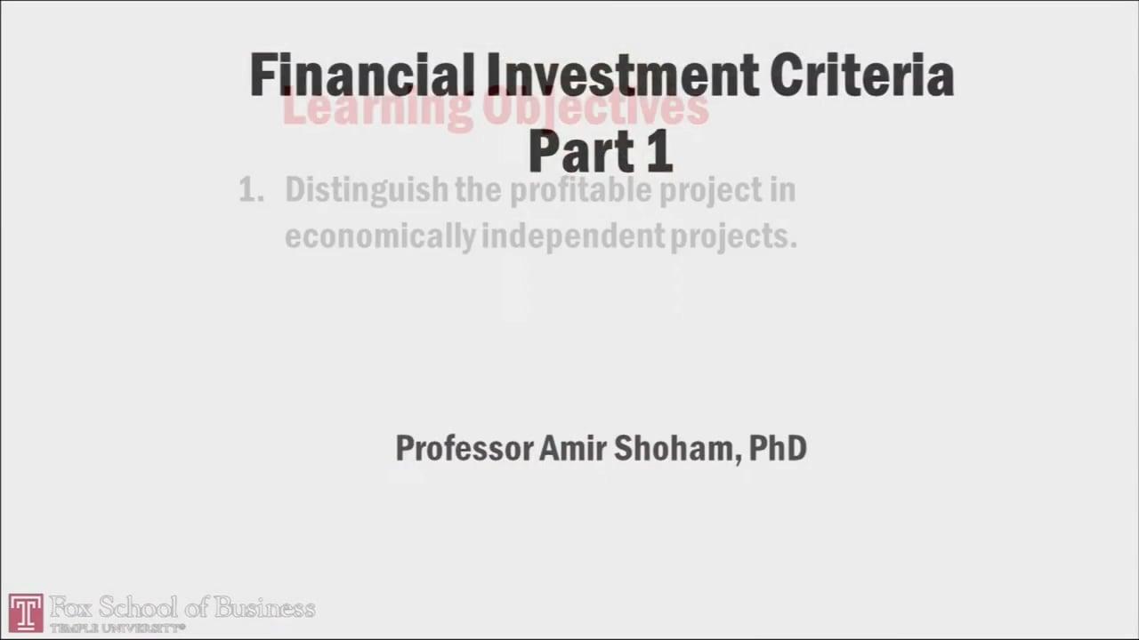 58031Financial Investment Criteria PT1
