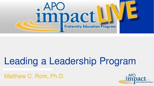 Leading a Leadership Program