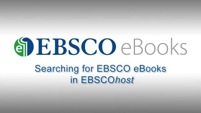 Searching EBSCO eBooks - Tutorial