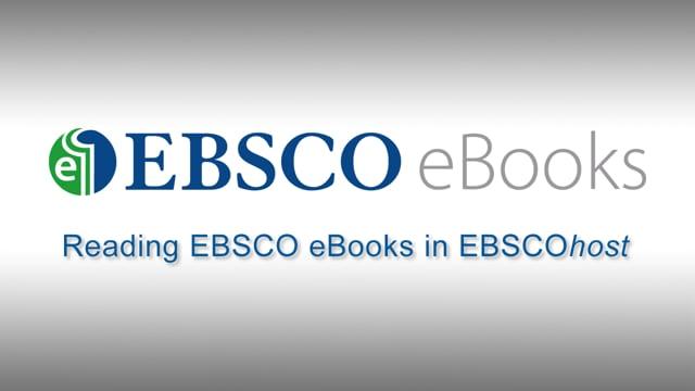 Reading EBSCO eBooks - Tutorial
