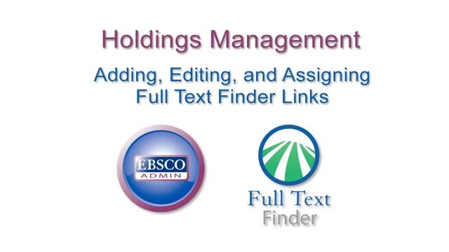 Holdings Management - Links Management