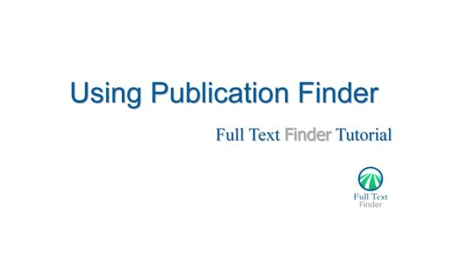 Publication Finder - Overview Tutorial