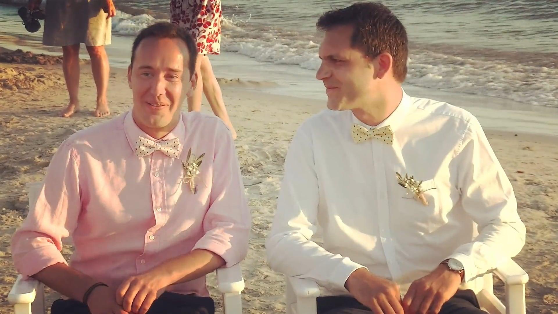 Gay destination wedding (beach party), Mathieu & Nicolas, Naxos island. DJ Nikos Alatas on decks, Video clip, Epic!