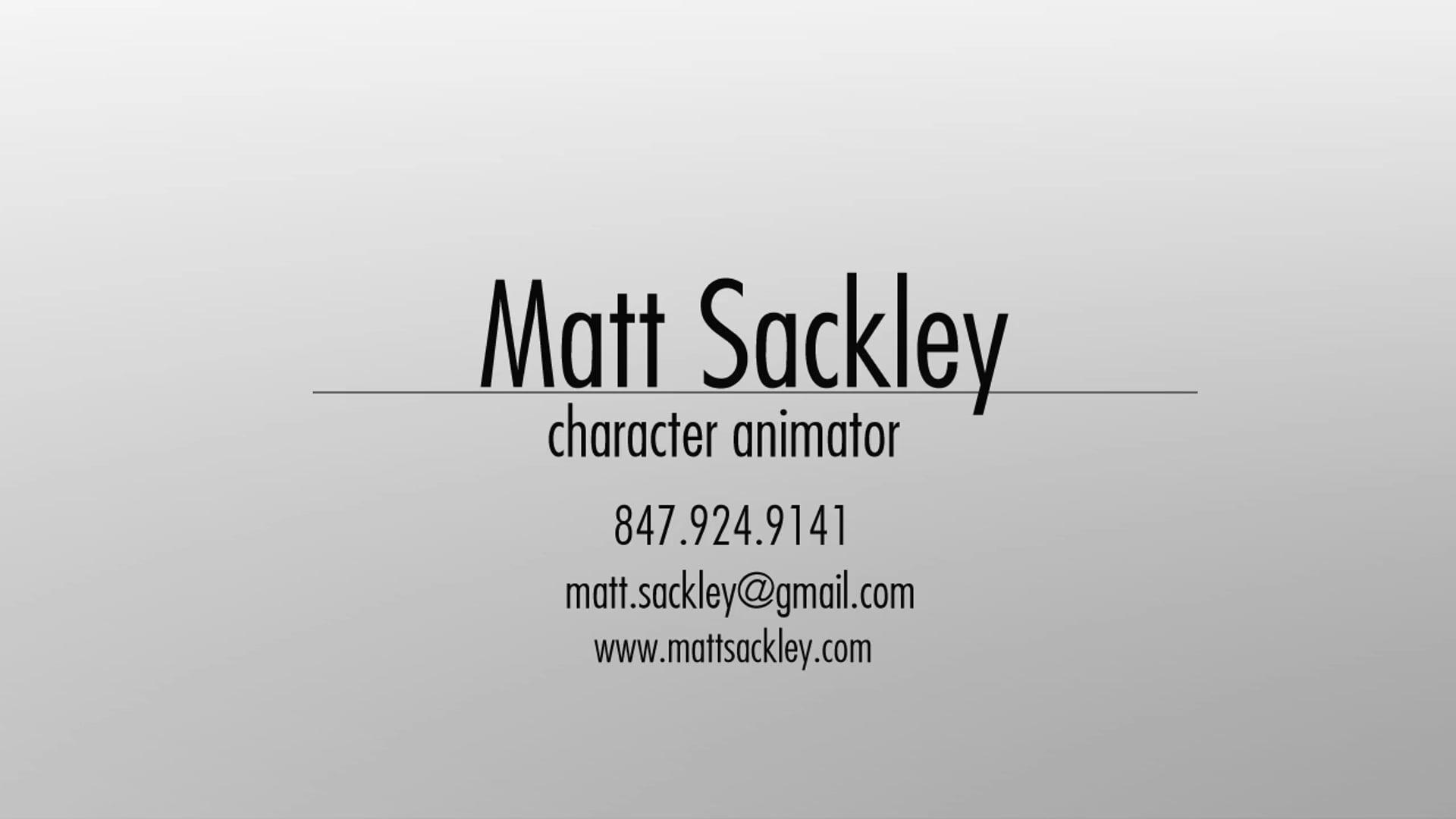 Matt Sackley - Animation Reel - 2019