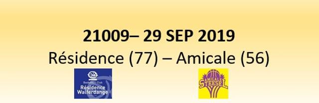 N1D 21009 Résidence Walferdange (77) - Amicale Steinsel (56) 29/09/2019