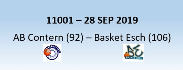 N1H 11001 AB Contern (92) - Basket Esch (106) 28/09/2019