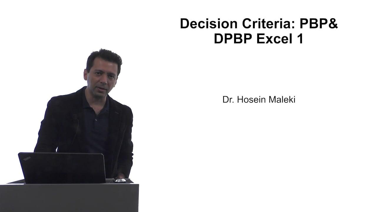 61606Decision Criteria: PBP and DPBP Excel 1