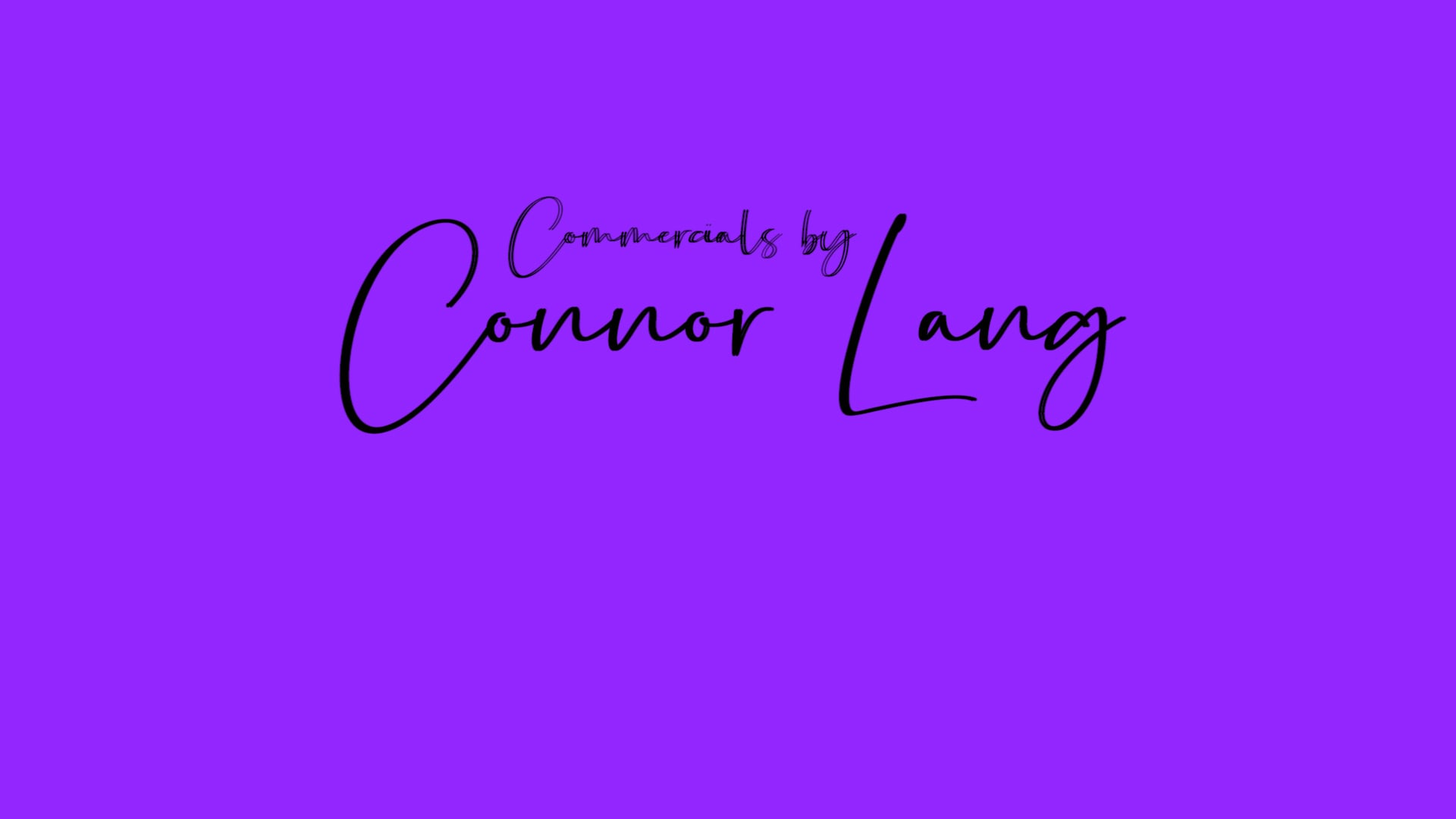 Connor Lang    Commercial Reel