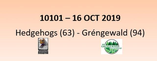 CUP 10101 Hedgehogs Bascharage (63) - Gréngewald Hueschtert (94) 16/10/2019