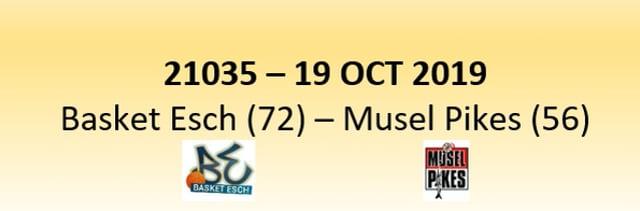 N1D 21035 Basket Esch (72) - Musel Pikes (56) 19/10/2019
