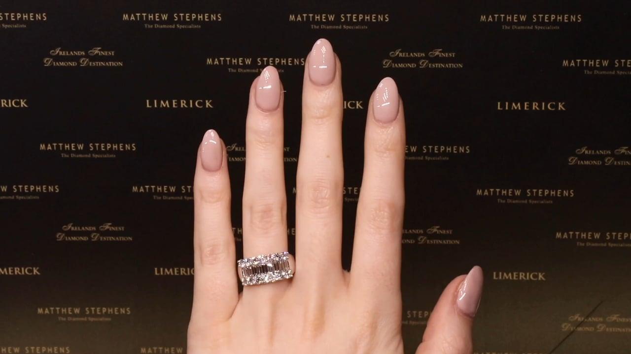 69471 - Three Row Round Brilliant and Baguette Diamond Ring, T2.49ct, Set in Platinum