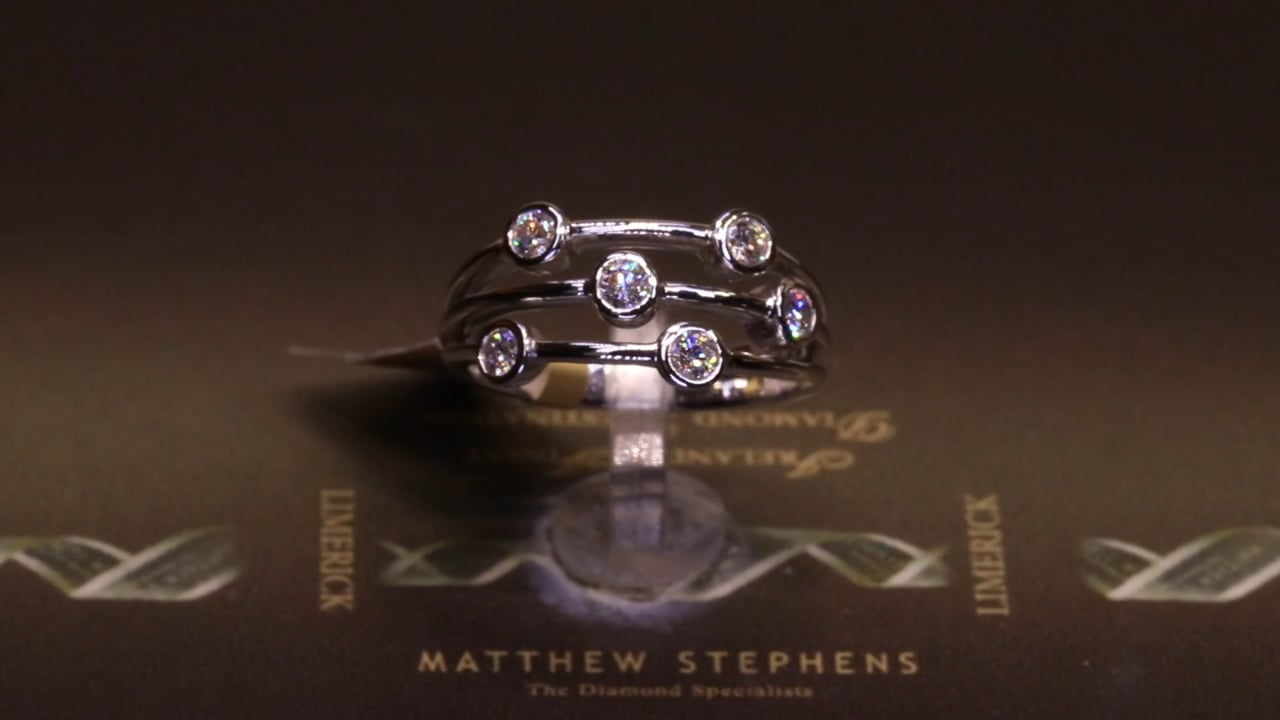 63997 - Three Row Band with RB Rubover Diamonds, T0.45ct, Set in 18ct White Gold