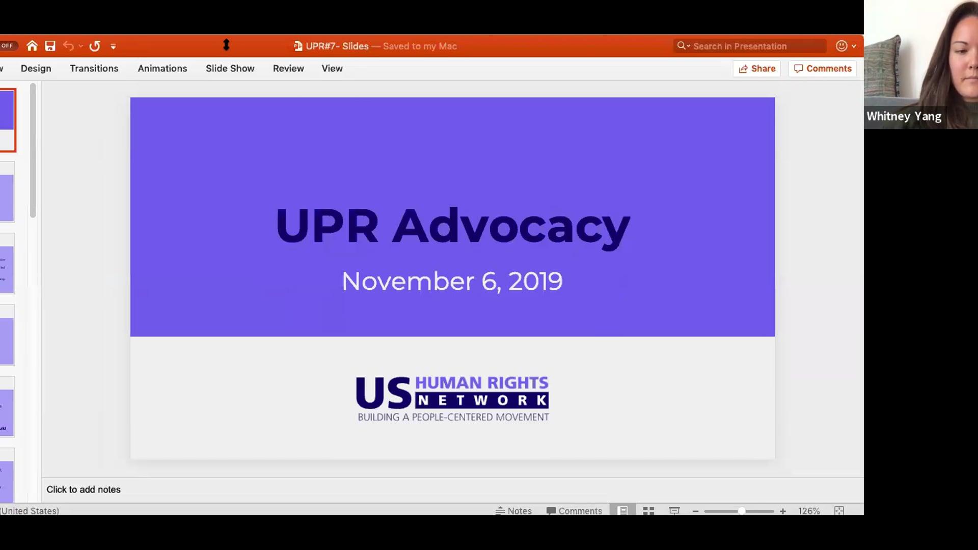 UPR Webinar # 7 - Advocacy