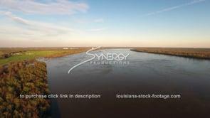 1475 aerial swollen Mississippi river at flood stage