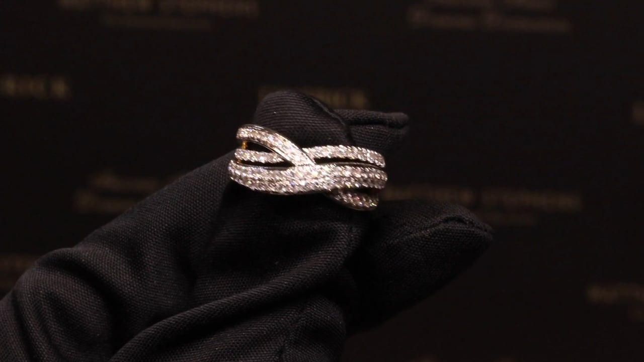 70117 - Three Row Diamond Twisted Band, T0.60ct, Set in 18ct Yellow Gold