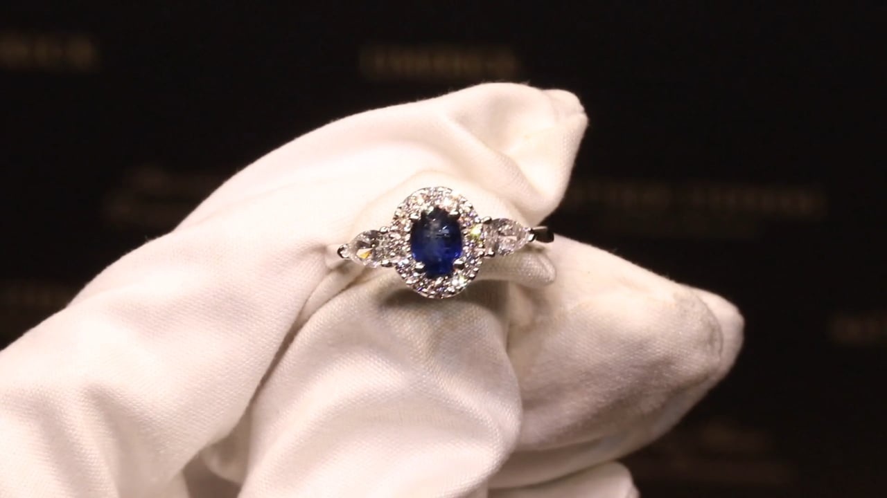 70274 - Oval Sapphire Halo Centre with Pear Side Diamonds, S0.67ct  D0.60ct, Set in Platinum