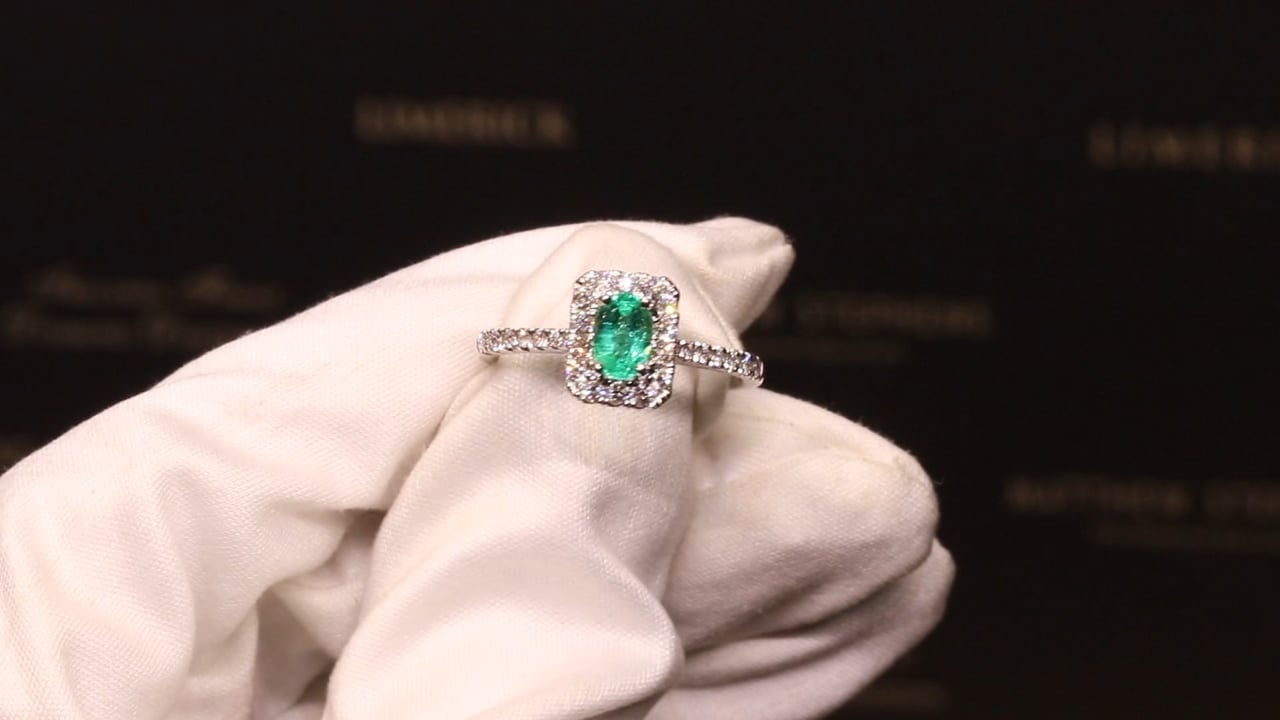 59975 - Oval Emerald with Diamond Halo & DSS, EM0.37ct & D0.37ct, Set in 18ct White Gold