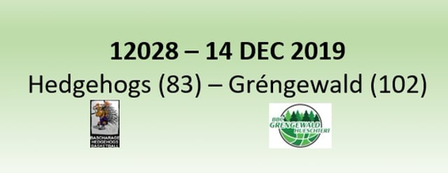 N2H 12028 Hedgehogs Bascharage (83) - Gréngewald Hueschtert (102) 14/12/2019