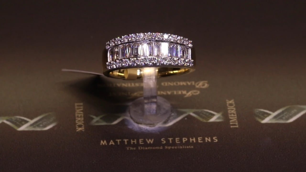 71221 - Three Row Baguette and Round Brilliant Diamond Ring, T1.00ct, Set in 18ct Yellow Gold