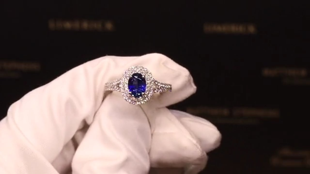58385 - Oval Sapphire with Diamond Double Halo, Split Shank & DSS, S0.94ct & D0.47ct, Set in 18ct White Gold
