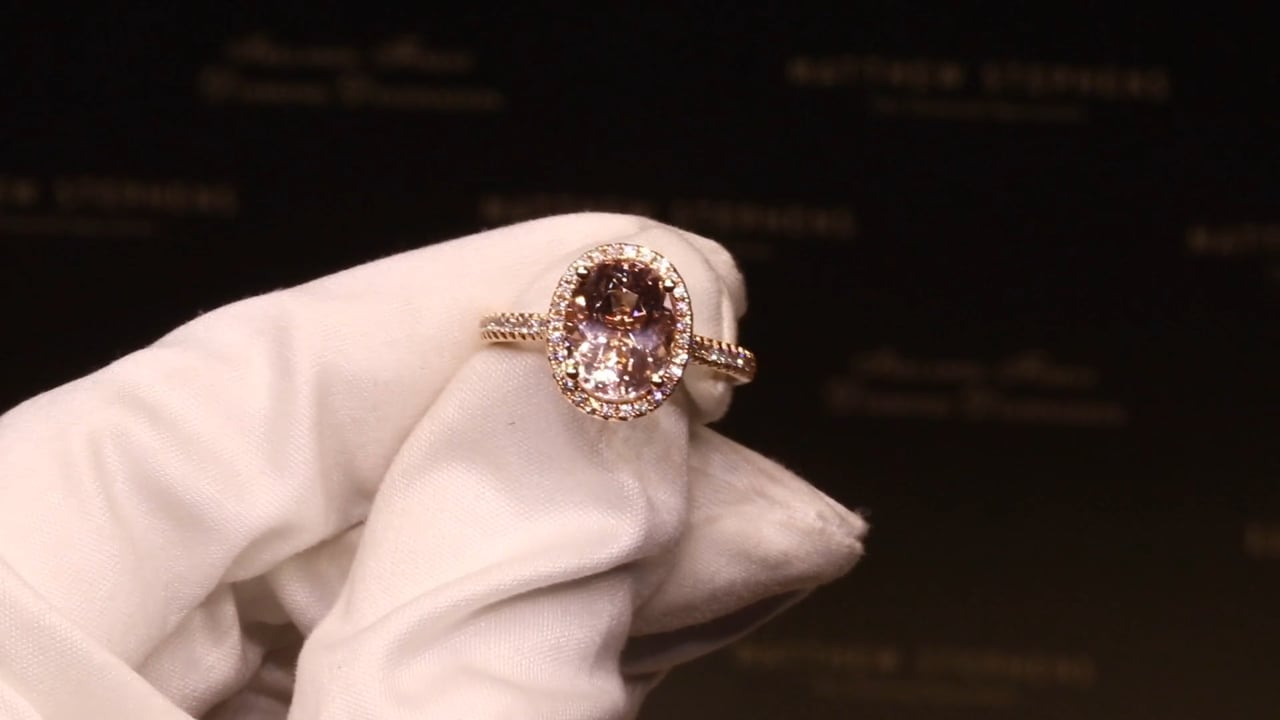 69759 - Oval Morganite with Diamond Halo and DSS, M2.66ct & D0.25ct, Set in 18ct Rose Gold