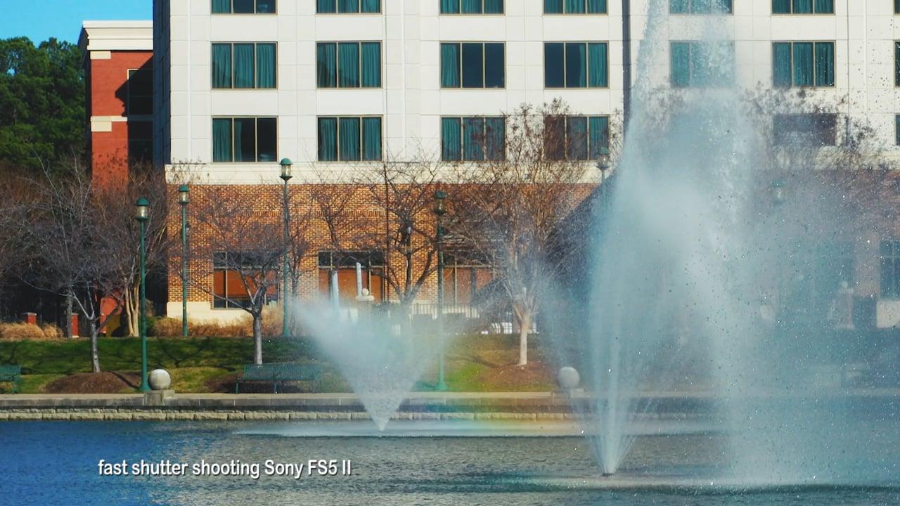 A Fast shutter shot of fountain SONY FS5 II