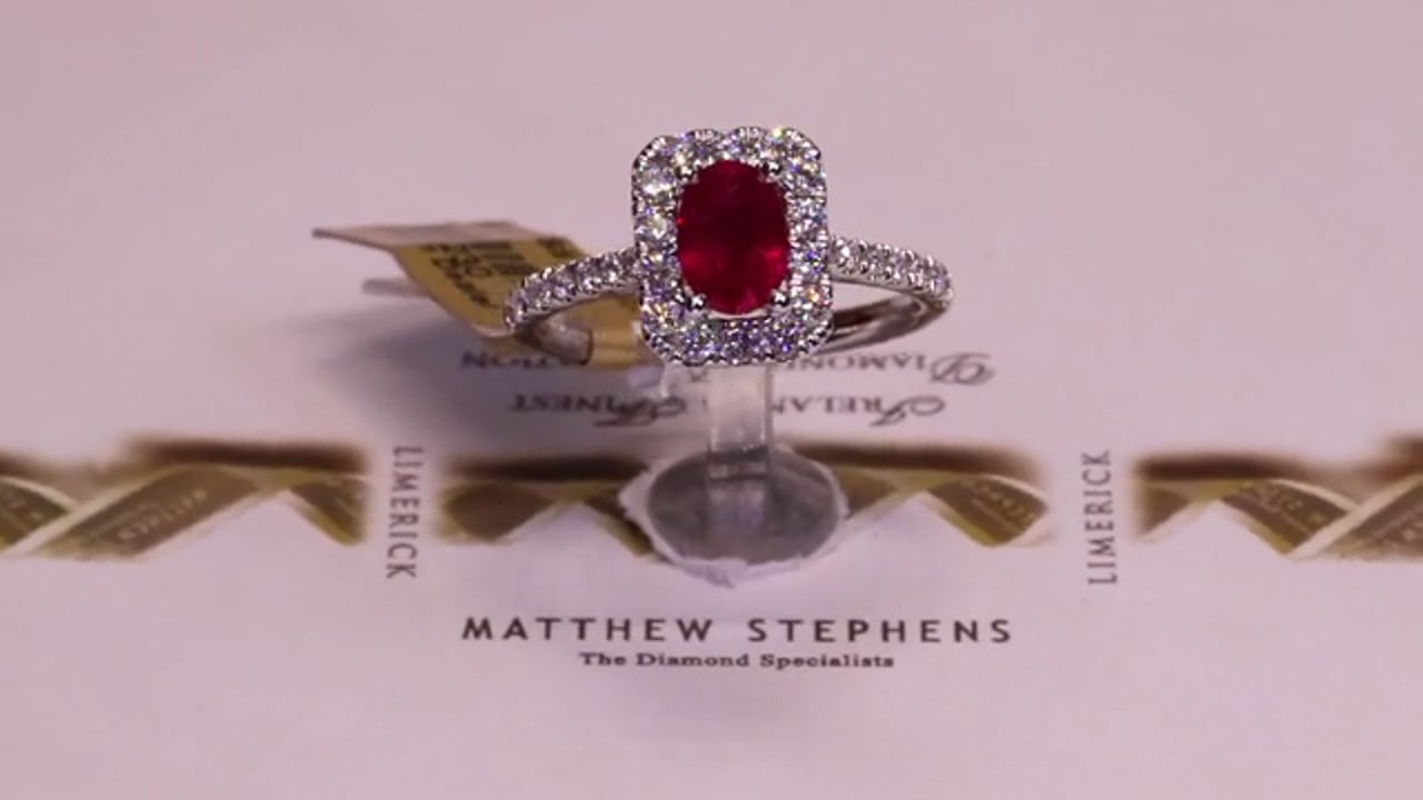 63230 - Oval Ruby with Diamond Halo & DSS, R1.20ct & D0.53ct, Set in 18ct White Gold