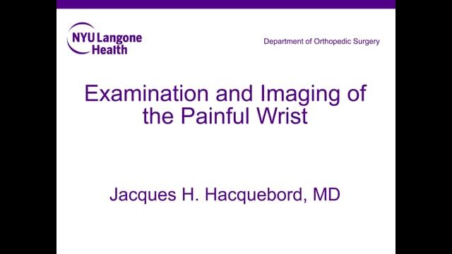 Wrist Pain Evaluation and Treatment – Orthopedic Webinar Series
