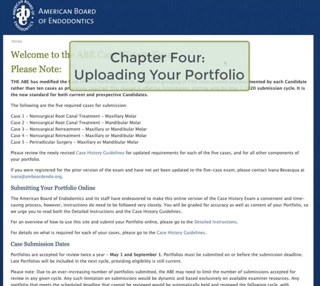 D.  Chapter Four - Uploading Your Case History Portfolio