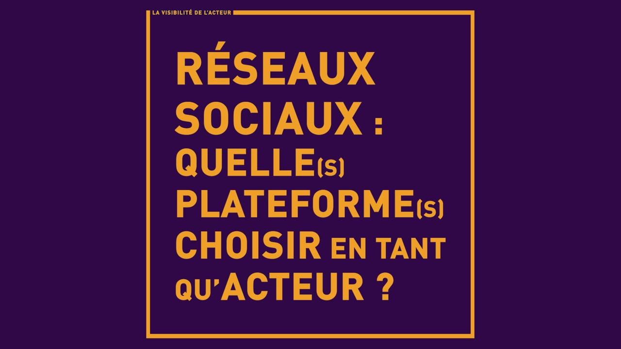 Réseaux Sociaux : Quelle(s) plateforme(s) choisir en tant qu'acteur ?