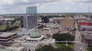1514 epic Lake Charles downtown skyline video footage