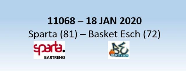 N1H 11068 Sparta Bertrange (81) - Basket Esch (72) 18/01/2020