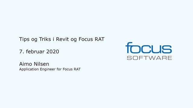 Tips og Triks i Revit og Focus RAT 2020