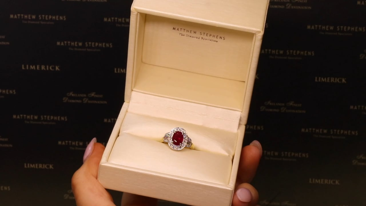 68012 - Oval Ruby with Diamond Halo & Shoulders, R1.25ct & D0.55ct, Set in 18ct Yellow Gold