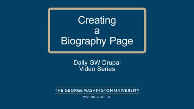 Creating a Biography Page