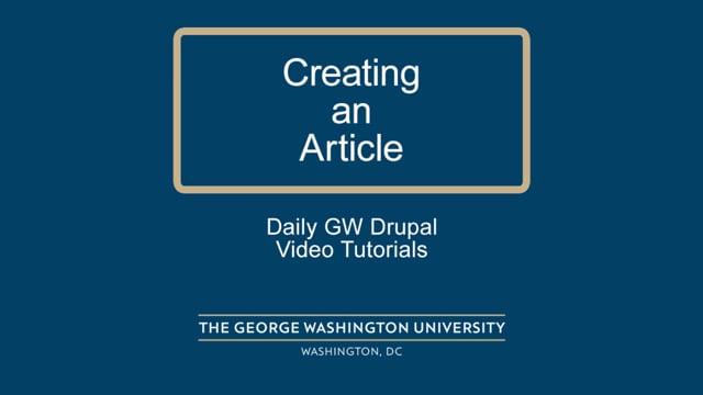 Creating a News Article & Sidebar Feed