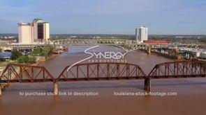 1557 bridges across Red River in Shreveport aerial drone video