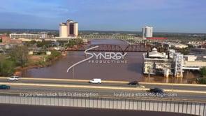 1561 Nice aerial Red River in Shreveport Louisiana casino riverboat