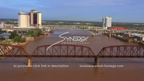 1563  Epic Red River drone aerial video stock footage
