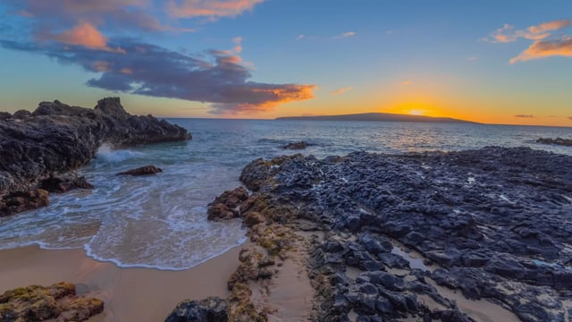 Fascinating Sunset over the Baby Beach, Sprecklesville Area, Maui, Hawaii