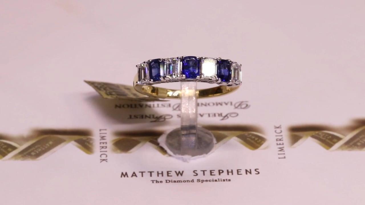 43472 - Sapphire & Diamond Emerald Cut Eternity Ring, S1.00ct, D0.66ct, Set in 18ct Yellow Gold