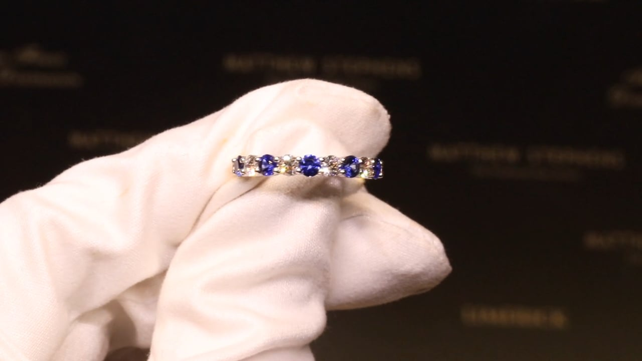 35995 - Sapphire & Diamond Nine Stone Eternity, S0.60ct & D0.40ct, Set in 18ct Yellow Gold