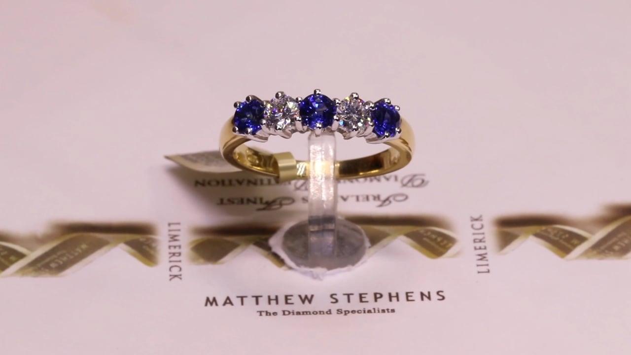 56155 - Five Stone Sapphire & Diamond, S0.74ct, D0.39ct, Set in 18ct Yellow Gold